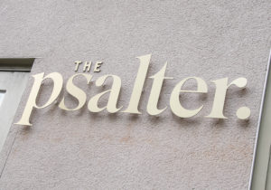 the psalter outdoor building sign