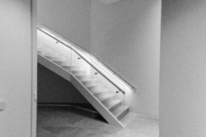 black and white handrails