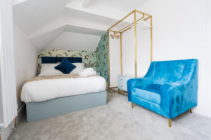 double room and blue armchair