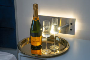 champagne on tray